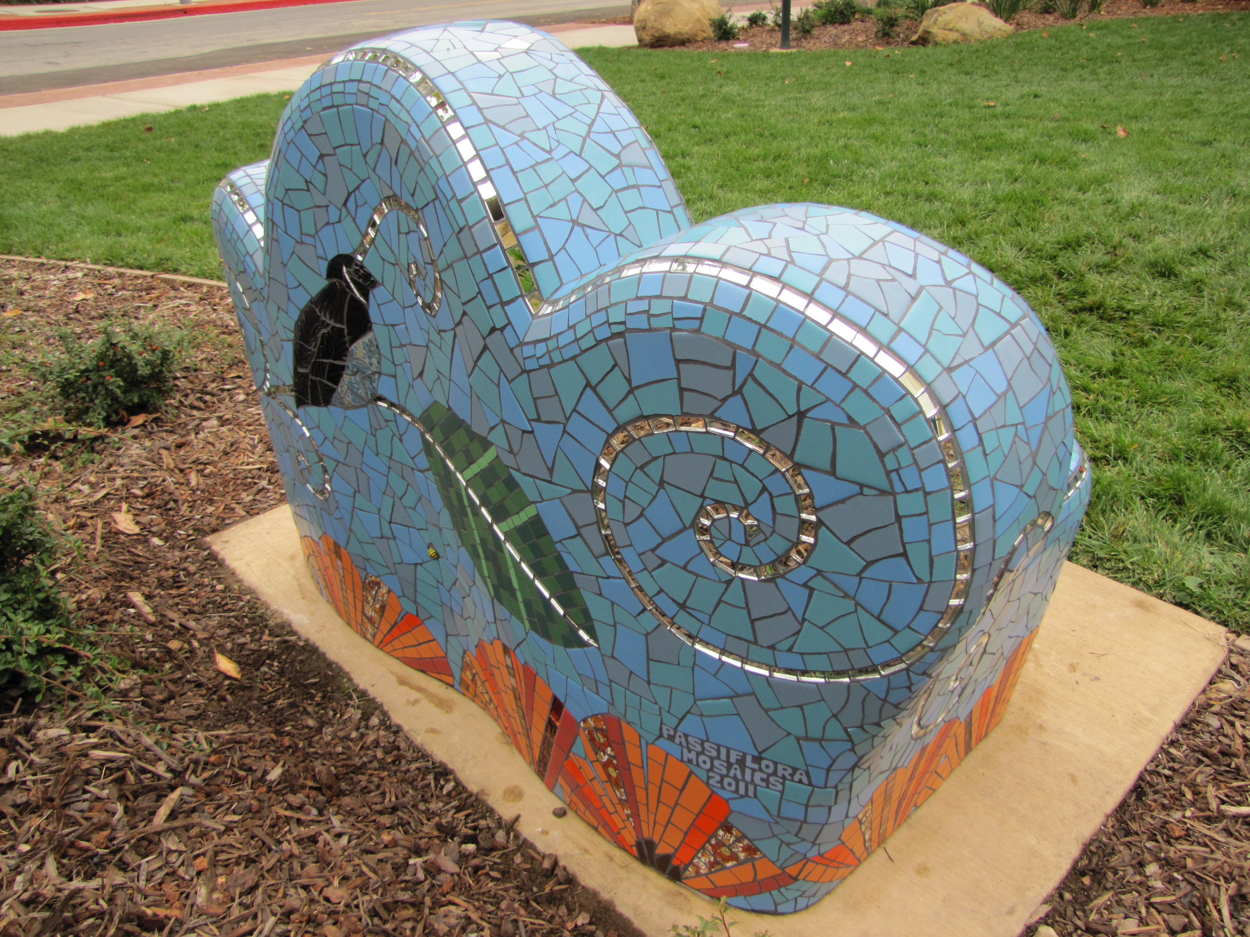 Cool Garden Bench Passiflora Mosaics Fred Donnell Pasion Ibusinesslaw Wood Chair Design Ideas Ibusinesslaworg