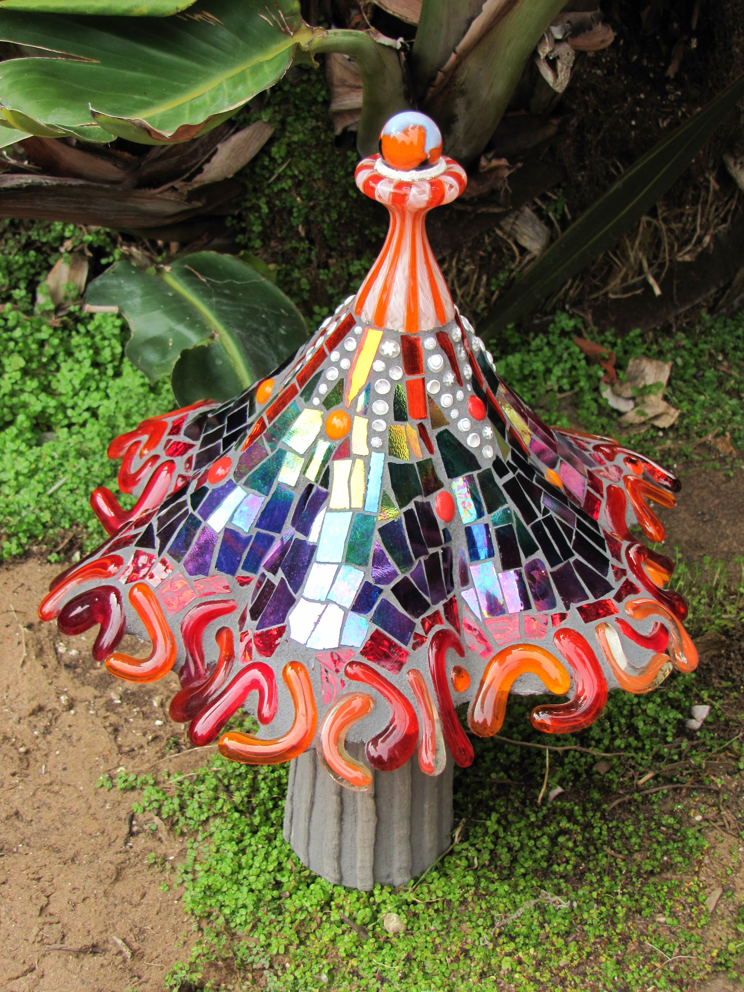 Orange Fringe Garden Mushroom. Mosaic Garden Art