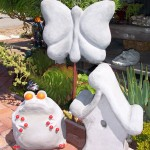 Styrofoam sculpture projects made by Passiflora Mosaics.  Create your own in their Grover Beach Styrofoam/Concrete Sculpture workshops.