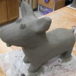 Gorki the Corgi, before mosaic.  Styrofoam sculpture made by Passiflora Mosaics.  Create your own in their Grover Beach Styrofoam/Concrete Sculpture workshops.